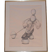 Original Pastel and Pencil on Paper Henri Doner-Hedrick 'Balancing Out'