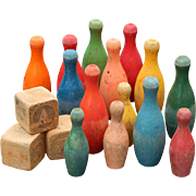 Vintage Colorful Wooden Bowling Pins Alphabet Block Display Toys