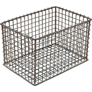 "13.75"" X 9.25"" X 8"" Vintage Heavy Gauge Metal Wire Crate Basket"