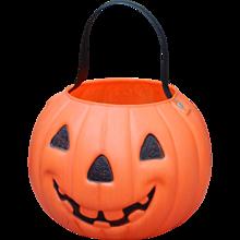 1970's Classic AJ RENZ CORP LEOMINSTER MASS NO 800 Molded Plastic Halloween Candy Bucket