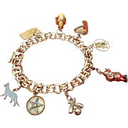 POM Mid Century Heart Clasp 14k Gold Double Link Charm Bracelet Vintage