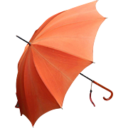 Pagoda Style Orange Cloth Vintage Umbrella with Marble Lucite handle and Cloth Wrist Catch