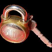 Vintage Locker 101 Pad Lock and Key