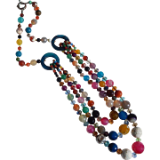 Bold Multi Colored Polished Stone and Glass Bead Vintage Necklace