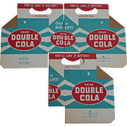 "Vintage 1960's DOUBLE COLA ""Get a BIG LIFT!"" Slogan Continental Can Company Soda Pop Bottle 6-Pack Cartons"