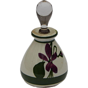 Petite Devon Violets Great Britain Pottery Scent Bottle with Glass Stopper