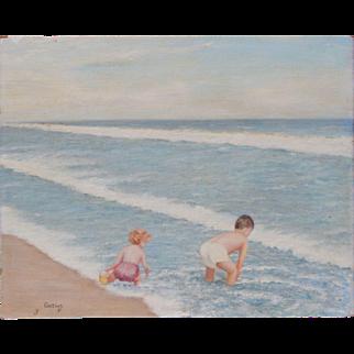 "Original Pontius E Children at the Beach Painting on ""Newton"" Canvas Board 16 X 20"