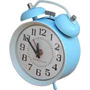 Robin's Egg Blue Bell Ringer Windup Peg Leg Vintage Westclox Alarm Clock