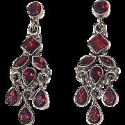 Sterling Silver Garnett Drop Post Earrings