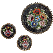 Italian Micromosaic Flowers with Black Trim Glass Bead Brooch and Earring Set