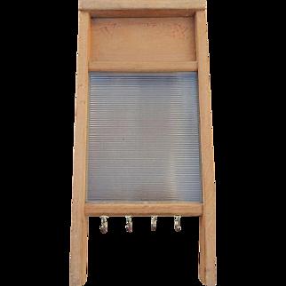 "Victory 508 Glass & Wood Washboard - Vintage National Washboard Co. 18"""