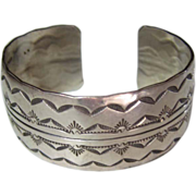 Old Pawn Wide Sterling Silver Navajo 40.6 Gram Hand Stamped Sunrise Cuff Bracelet
