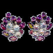 Lush Trifari Purple Amethyst Big Rhinestone Earrings Radiance