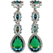 Early K.J.L. Kenneth Jay Lane Long Dangling Emerald Green Crystal Earrings