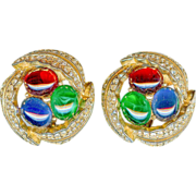Vintage Ciner Emerald Green Ruby Red Sapphire Blue Rhinestone Pave Earrings