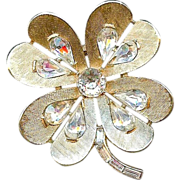 Vintage 1960 Trifari Clover Flower Heart Clear Rhinestone Brooch Pin