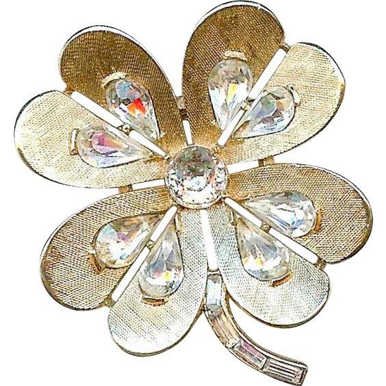 Smaller Vintage Trifari Clover Shamrock Heart Rhinestone Brooch Pin