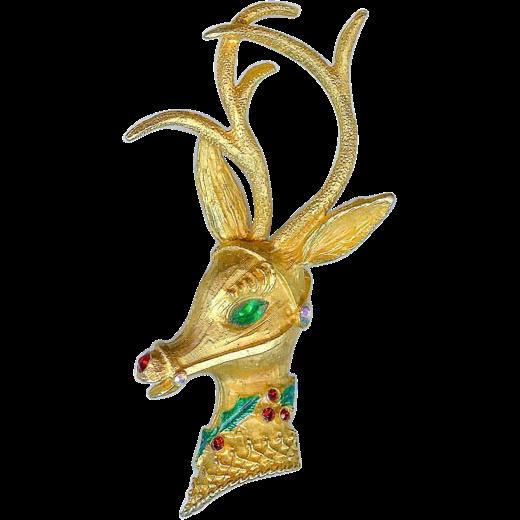Vintage 1960's Mylu Rudolf Reindeer Christmas Brooch Pin