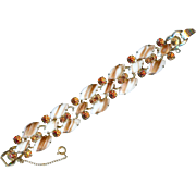 Authenticated Vintage Juliana D and E Five Link Gold Fluss Rhinestone Bracelet