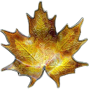 Vintage Fall Hroar Prydz Norway Maple Leaf Sterling Silver Enamel Brooch