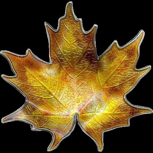 Vintage Fall Hroar Prydz Norway Maple Leaf Sterling Silver Enamel Brooch