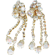 "Vintage 1950's Hobe 3"" Long Clear Crystal Dangle Earrings Bridal"