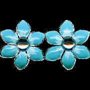 Vintage 1960's Turquoise Blue Hand Painted Enamel Flower Earrings