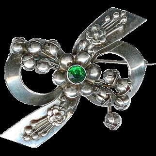 Sweet Vintage 1940's Hobe Sterling Silver Green Floral Rhinestone Brooch
