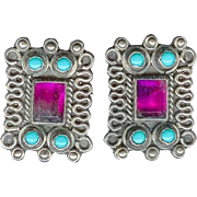 Vintage Sterling Silver Turquoise Ruby Glass Earrings Mexico