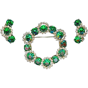 Vintage 1960's Emerald Green Rhinestone Wreath Brooch Pin Earring Set
