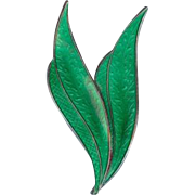 Karl Rasmussen 1950's Norway Green Enamel Sterling Silver Double Leaf Brooch Pin