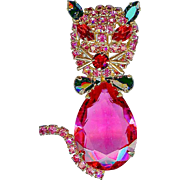 Vintage Alice Caviness Rose Pink Belly Cat Brooch Pin