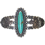Handsome 1930's Navajo Fred Harvey Era Sterling Turquoise Thunderbird Cuff Bracelet