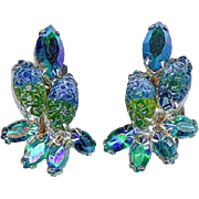 Beautiful Vintage Blue Green Art Glass and AB Earrings Circa 1960's
