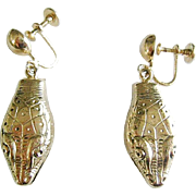 Pristine Whiting & Davis Gold Tone Dangle Snake Earrings