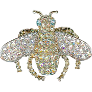 Sparkly Vintage KJL Bee Bug Insect Yellow Clear Crystal Rhinestone Brooch Pin