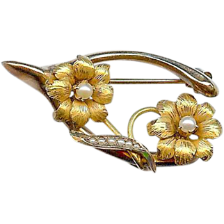 Antique Victorian C 1900 10K Gold Wishbone Seed Pearl Pin