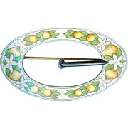 Victorian Art Nouveau Sterling Silver Enamel Orange Blossom Buckle Sash Pin