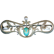 Superb Antique Arts & Crafts Sterling Silver Turquoise Pearl Brooch Pin