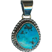 Sweet Navajo Emma Lincoln Sterling Silver Gem Grade Turquoise Pendant