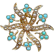 Antique Victorian 14K Gold Diamond Turquoise Pearl Sun Burst Brooch Pin Pendant