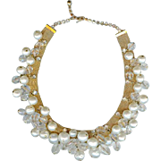 Superb Vintage Hattie Carnegie Crystal Diamond Pearl Dangle Mesh Necklace~Bridal