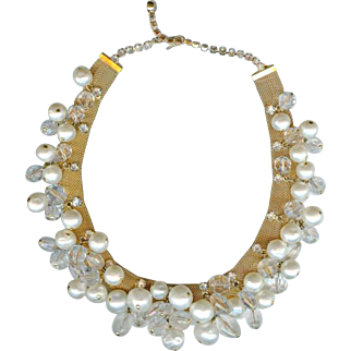 Vintage Hattie Carnegie Mesh Crystal Pearl Dangle Necklace~Bridal