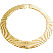 Classic Ciner Brilliant Gold Tone Egyptian Revival Omega Choker Necklace