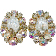 Pristine Hobe Faux Rock Crystal Quartz AB Rhinestone Earrings, Comfort Clips