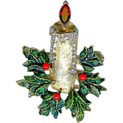 Hattie Carnegie Green Holly Red Berry Rhinestone Christmas Candle Brooch Pin