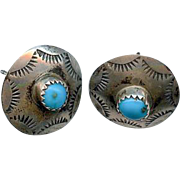 Sweet Old Pawn Navajo Stamped Sterling Silver Turquoise Earrings