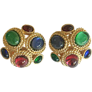Vintage Ciner Big Ruby Red Sapphire Blue Moghul Jewel Tone Earrings