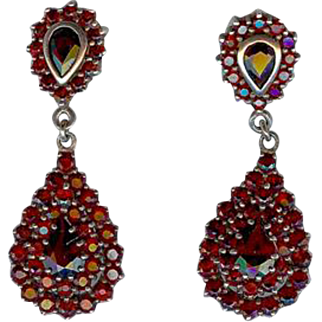 Sparkling Antique Victorian Bohemian Garnet Drop Earrings