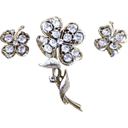 Vintage Lisner Shamrock Clover Clear Crystal Rhinestone Brooch Pin Earrings Set